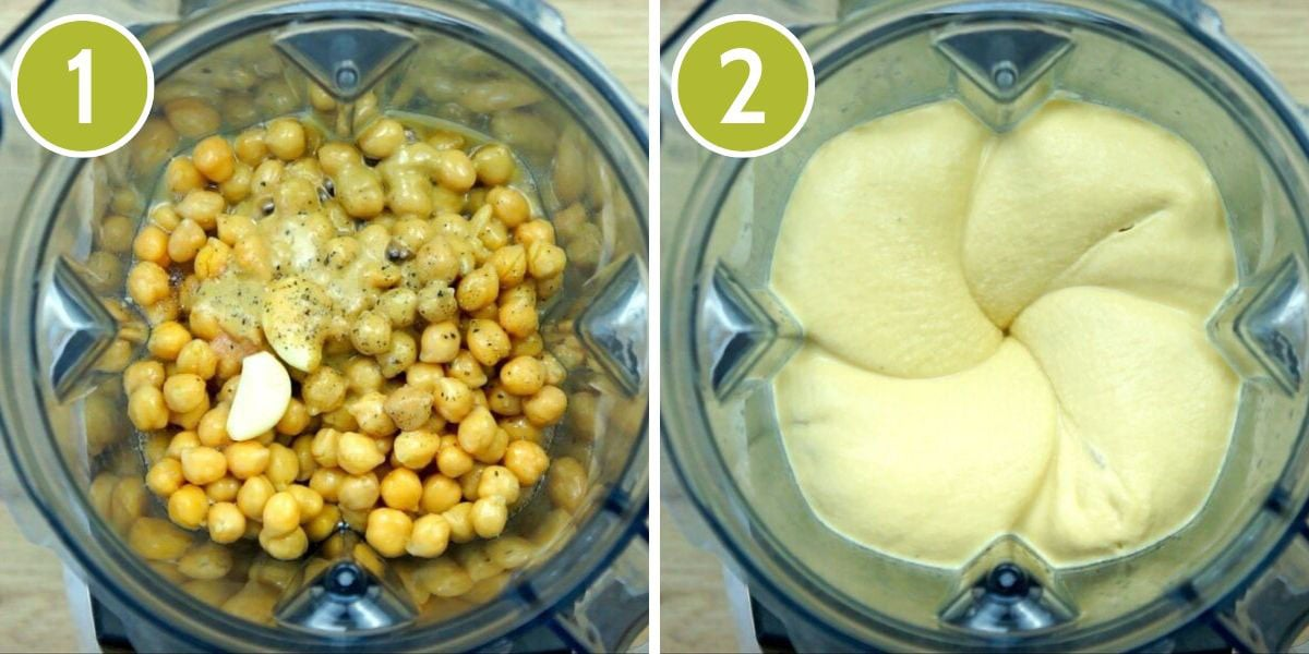 Step photos to make oil-free hummus - Vitamix from above showing all ingredients before and after blending.