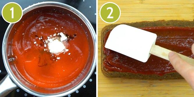 Step photos to make maple tomato glaze