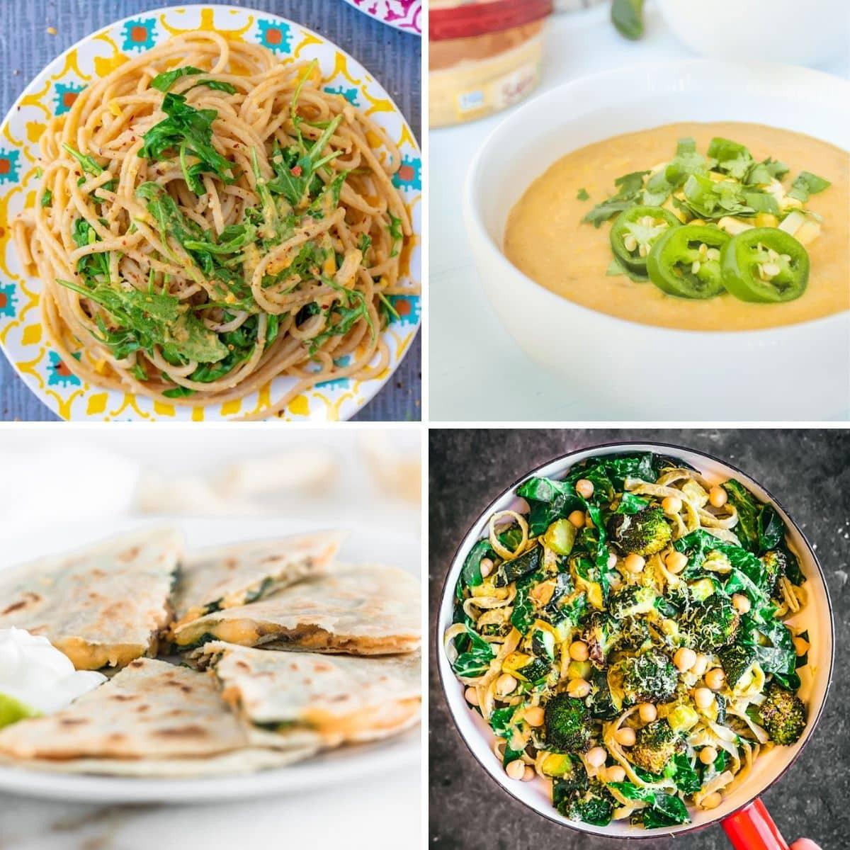 4 images 4 food: Creamy Butternut Squash Hummus Pasta, Jalapeno Hummus Corn Chowder, Spinach Mushroom Hummus Quesadilla, Creamy Hummus and Greens Pasta