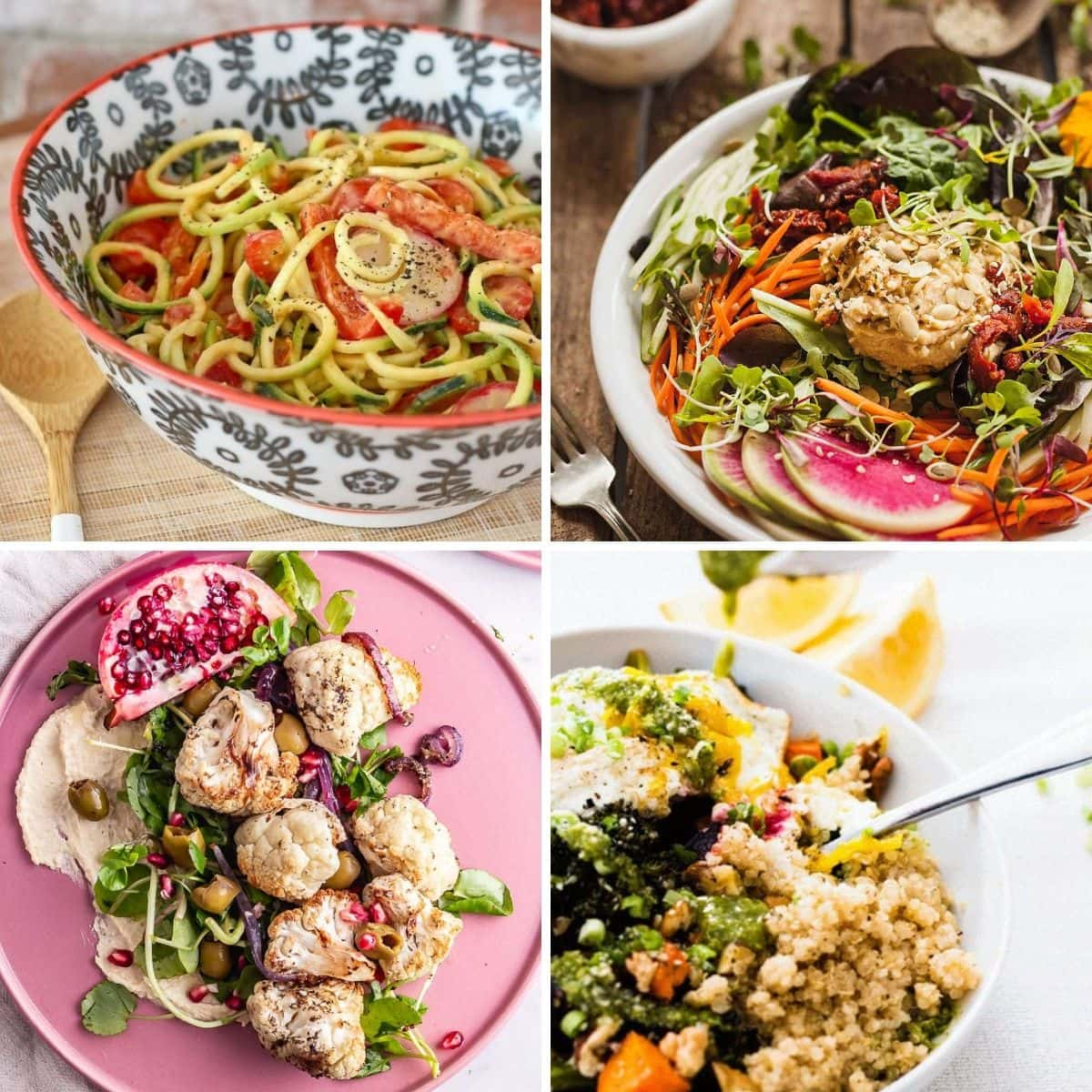 4 images 4 food: Zoodles with Roasted Red Pepper Hummus Dressing, High Protein Fresh Salad with Hummus, Roasted Cauliflower Salad with Hummus, Roasted Winter Vegetable Quinoa Bowl with Basil Hummus Dressing