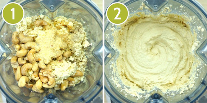 Step photos to make tofu cheese cake showing the blender with the ingredients and then after blending the finished cream cheese