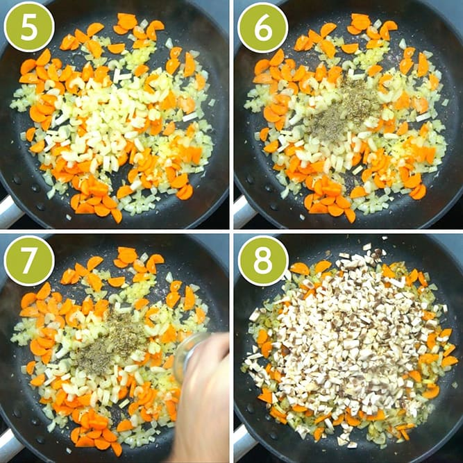 Step photos to make vegan lentil loaf - showing a frying pan with onion, carrots, celery, mushrooms and seasoning