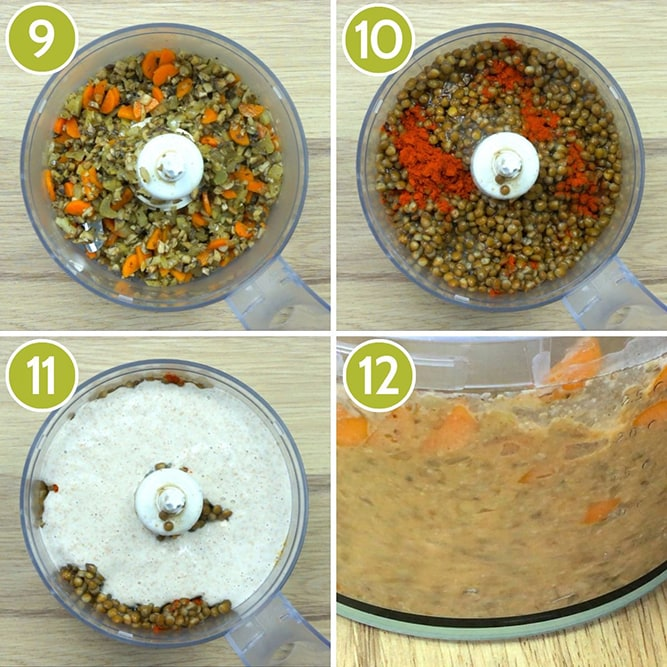 Step photos to make vegan lentil loaf - Showing a food processor with ingredients then with blended mixture