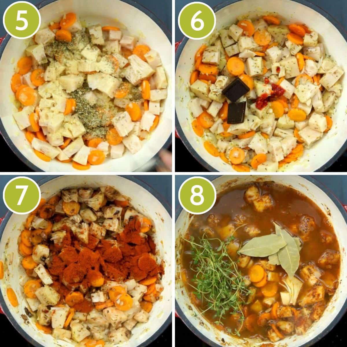 4 step photos to make vegan stew - adding jackfruit, seasoning, sriracha, chocolate, smoked paprika, thyme and bay leaves