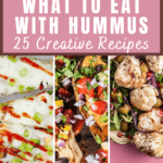 Collage of images showing what to eat with hummus