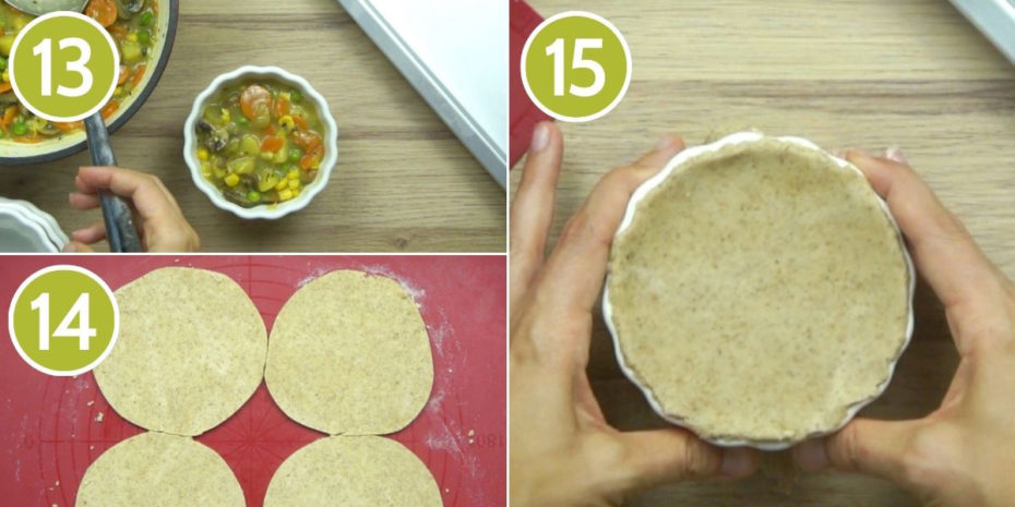 3 photo collage on how to add pie crust to vegan pot pie showing small white ramekins with a hand placing a brown circle crust on top