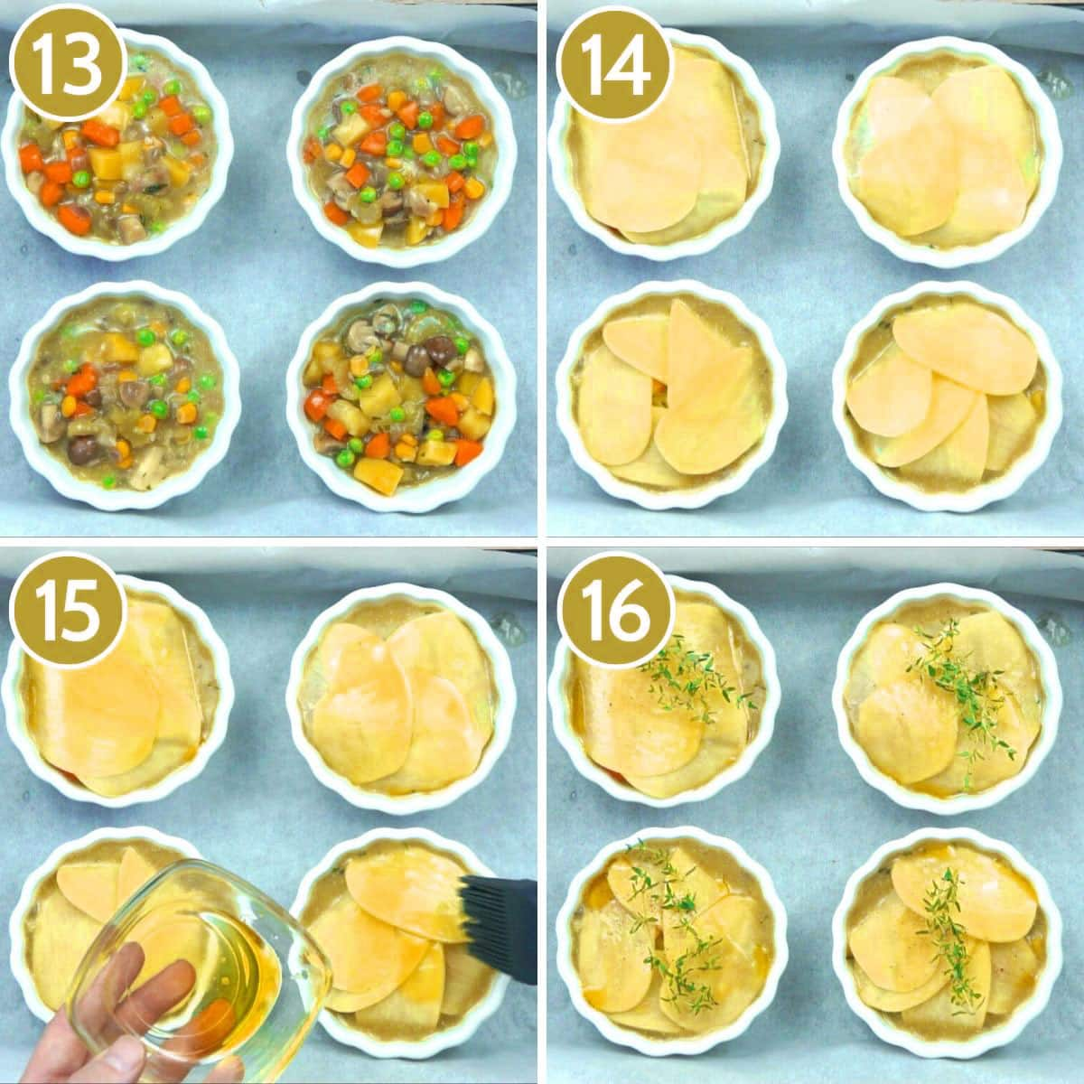 Step photos to make vegan pot pie showing the mini pots filled with veggie stew topped with sliced potatoes