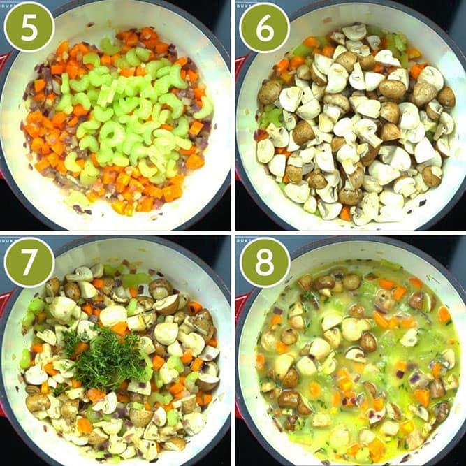 Step photos to make veggie pot pie adding celery, mushroom, seasoning, milk and veggie broth