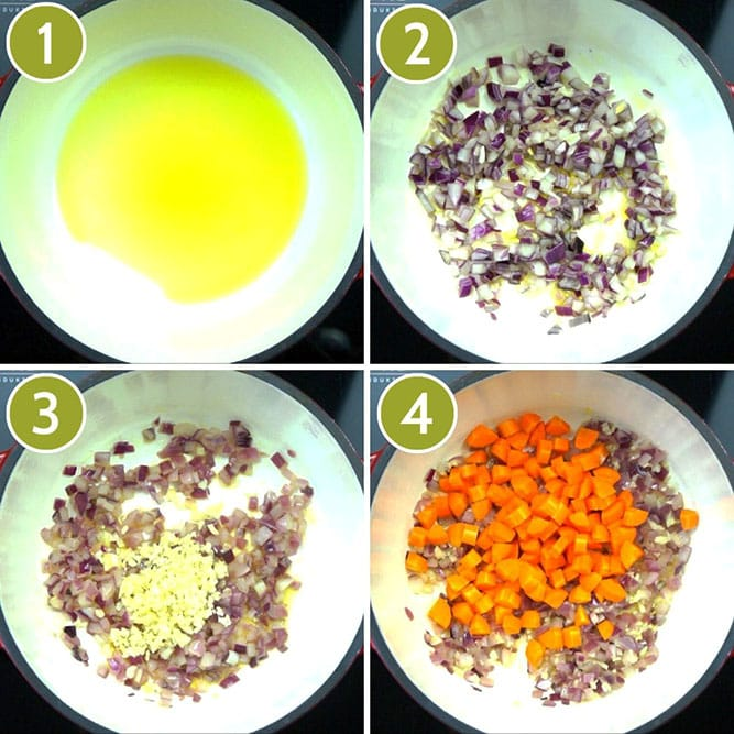Step photos to make vegetable pot pie - frying pan from above shows how to cook onion, garlic and carrots