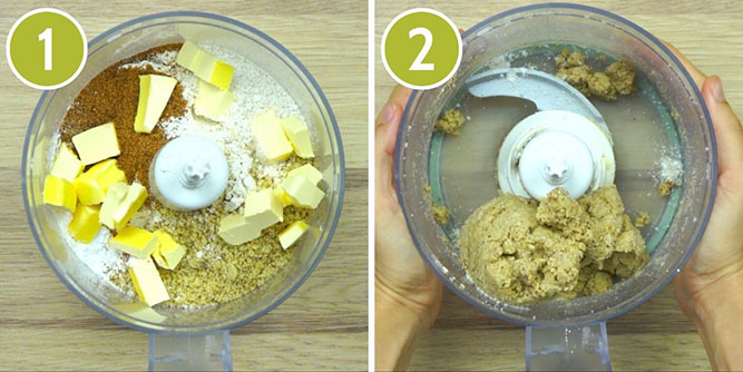 Step photos to make walnut crescent cookies in food processor