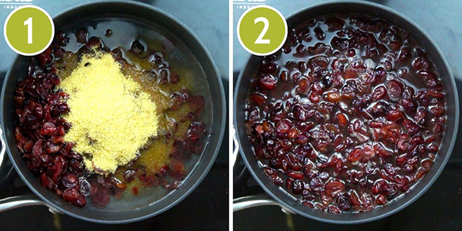 Step photos to make cranberry jelly - showing cooking dried cranberries, water and sugar in a saucepan