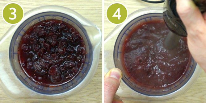 Step photos to make cranberry jelly - blending the cooked sauce with a hand blender