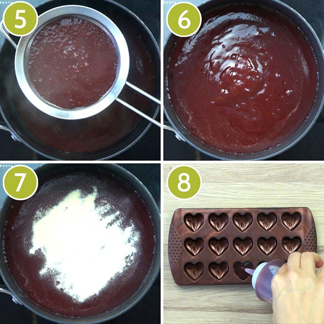 Step photos to make cranberry jelly - straining the cooked cranberry sauce and adding agar agar finally pouring it into a heart-shaped mold
