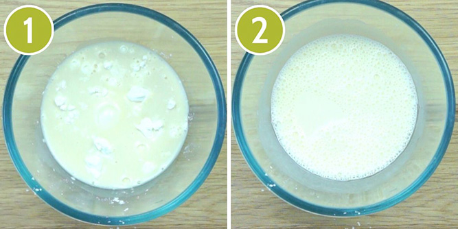 Step photos to make vegan custard