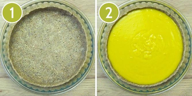 Step photos to make the vegan custard tart