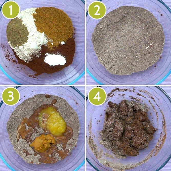Step photos to make vegan gluten-free brownies in one bowl