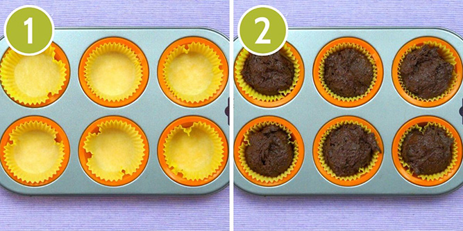 Steps photos how to fill the muffin pan with vegan gluten-free brownie batter