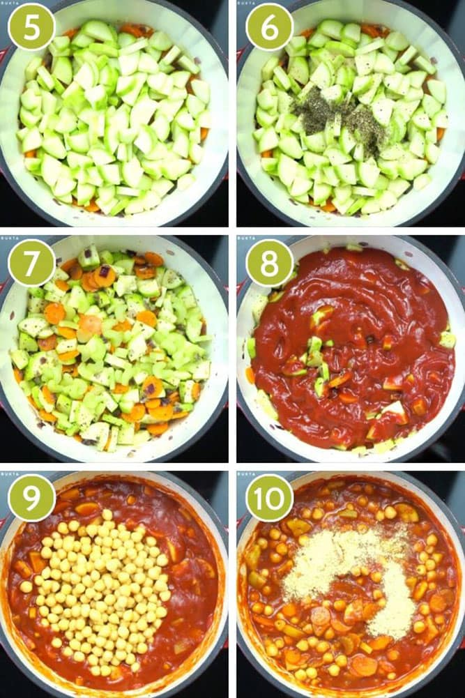 Step photos to show how to make vegetable pasta sauce including adding veggies, tomato sauce and spices