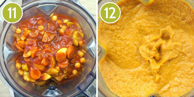 Steps to make vegetable pasta sauce - last to steps showing the blending