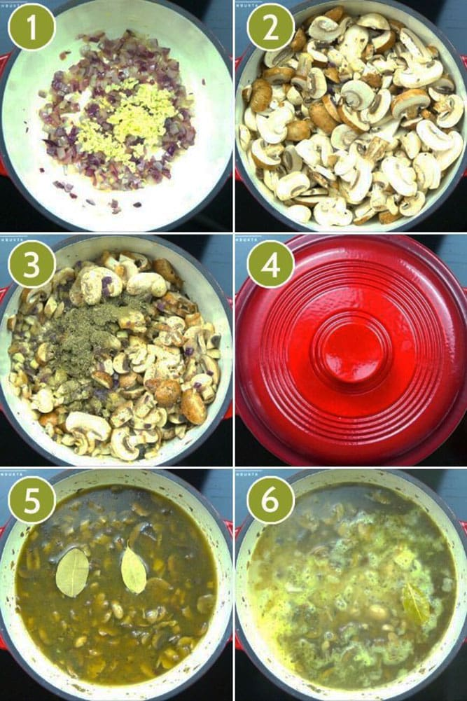 Step photos to show how to make vegan cream of mushroom soup in a Dutch Oven