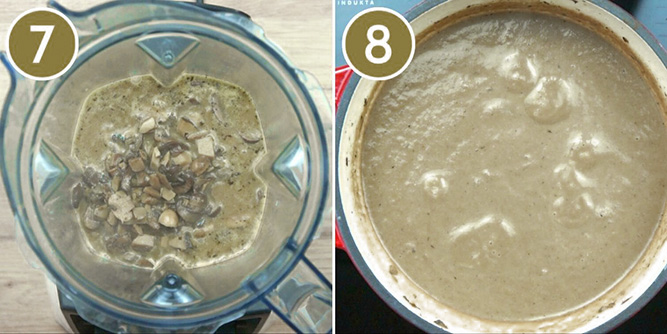 Step photos showing a blender before and after blending the mushroom soup into a cream of mushroom soup