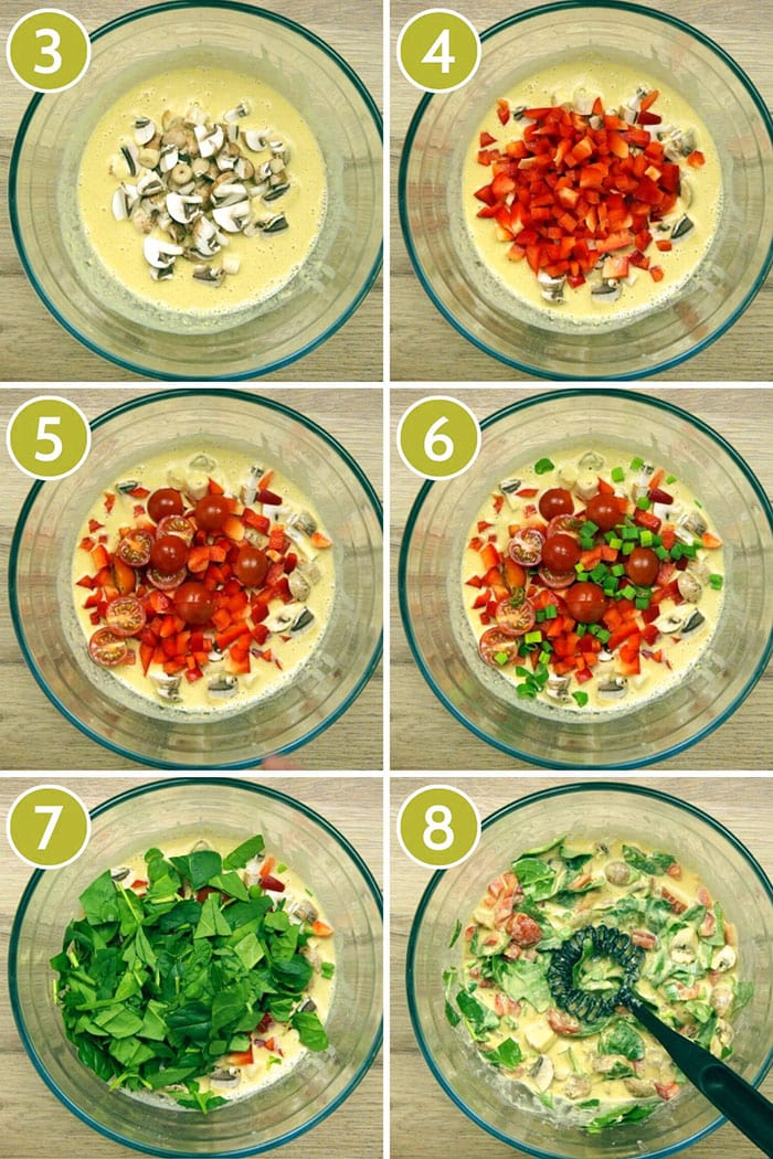 Step photos showing all veggies added to the frittata: mushroom, bell pepper, cherry tomatoes, spring onion, spinach
