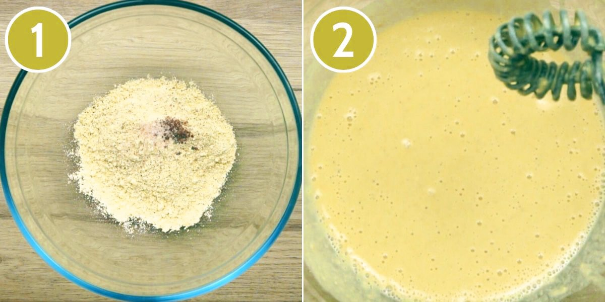 Step photos showing how to mix the eggless base for vegan frittata