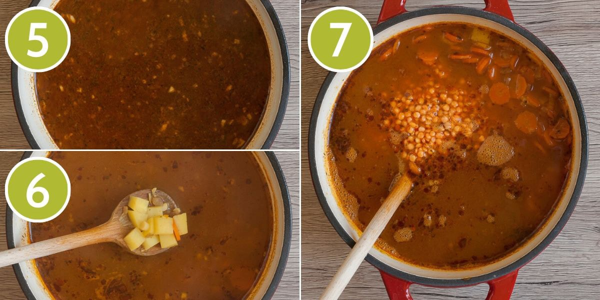 Step photos to make red lentil soup showing the veggie broth, the potato and the red lentil steps