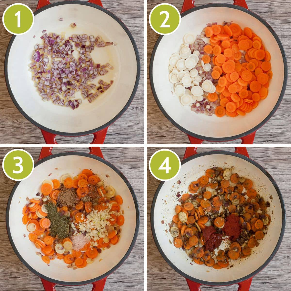 step photos to make a vegetable base for a Hungarian goulash
