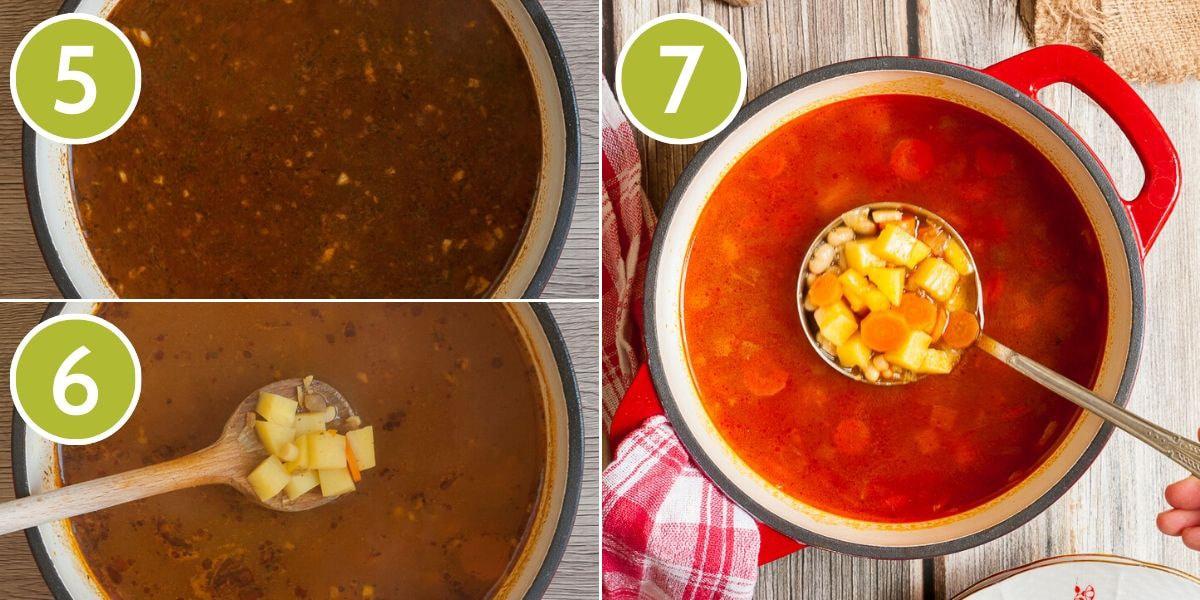 Step photos to make vegetarian goulash