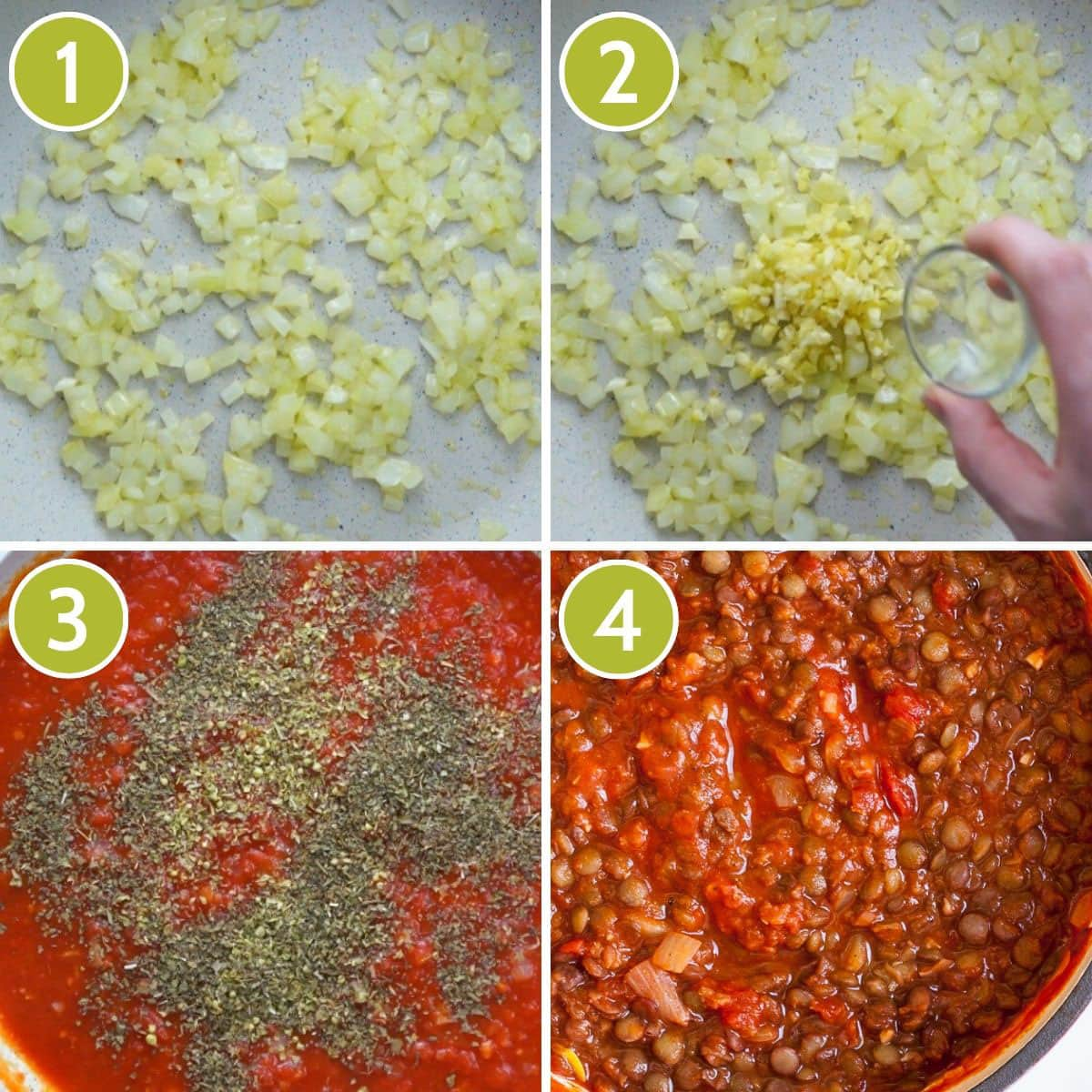 Step photos to make lentil bolognese sauce for lasagna