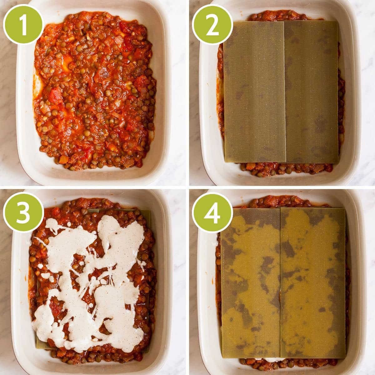 Step photos showing the different layers of a lentil lasagna