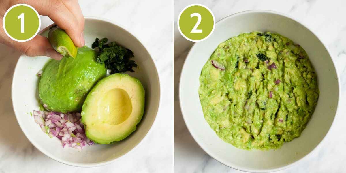 Collage of 2 photos - first shows a small white bowl with two halves of peeled avocado, chopped green herbs and chopped onion. The second photo shows a mashed green puree.