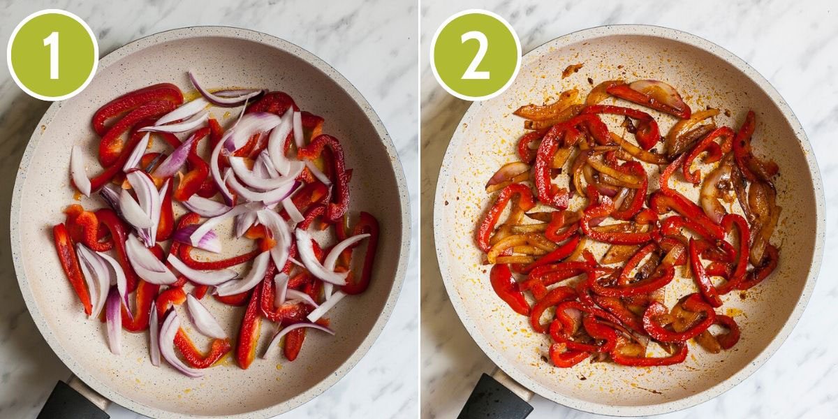 Collage of 2 photos - first on with red bell pepper and white onion slices in a frying pan, the second photo shows red bell pepper and brown onion slices in a frying pan when they are ready