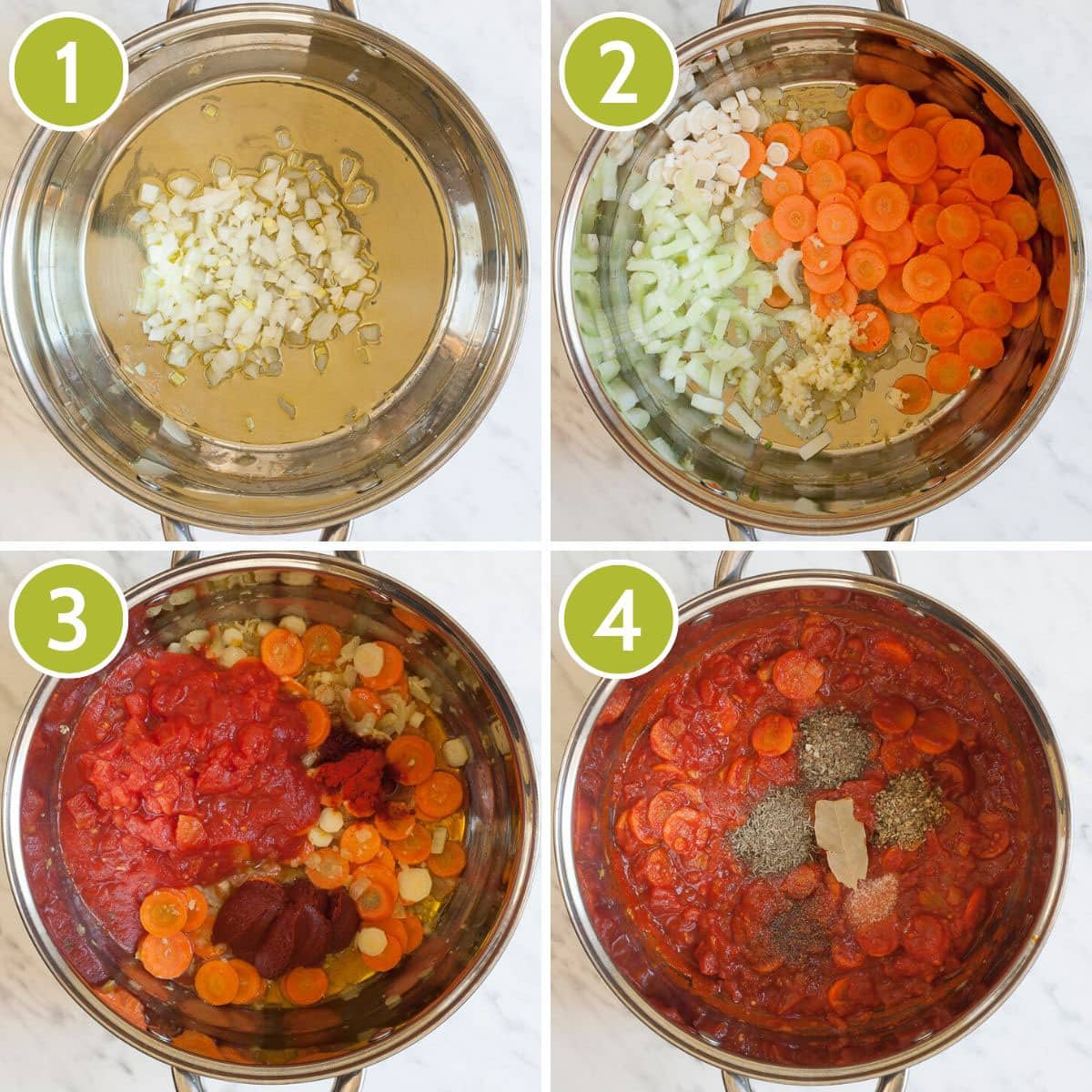 Step photos to make easy vegan minestrone soup showing the stockpot from above