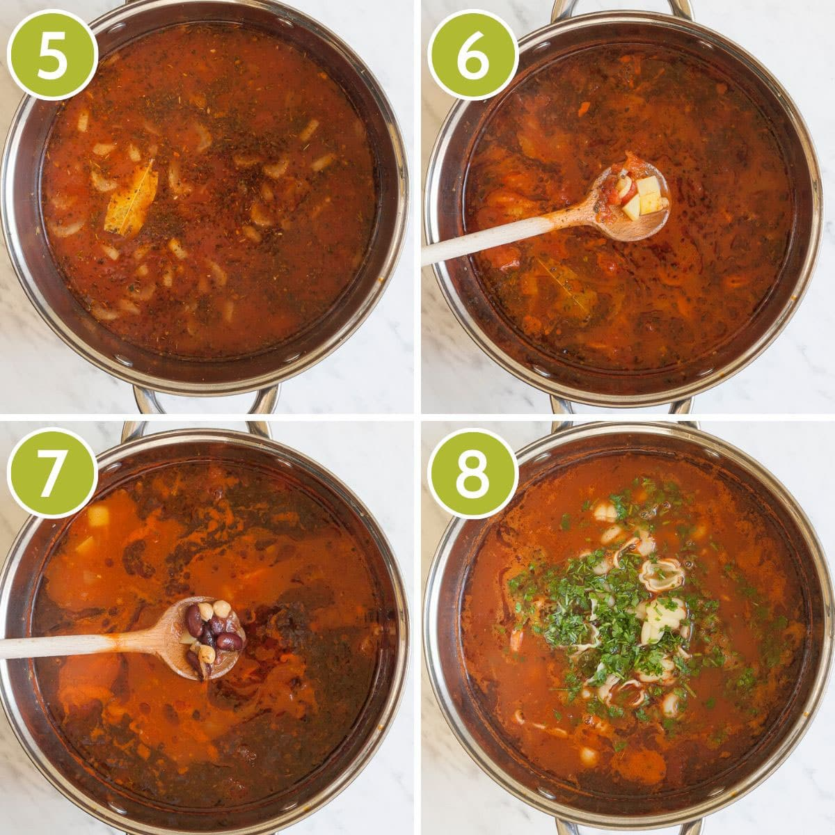 Last step photos to make easy vegan minestrone soup showing the stockpot from above