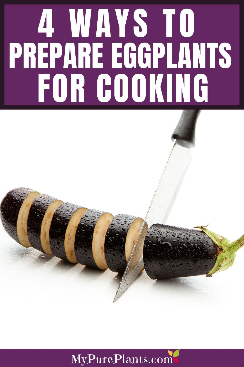 A knife is cutting an eggplant into 1-inch slices. They are floating before a white background.