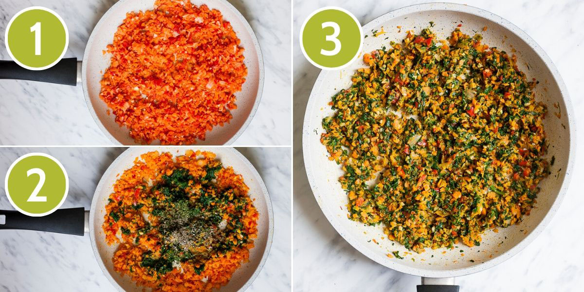 3 photo collage with a frying pan showing first small orange chunks, the second photo shows green pieces on top, while the last photo shows the mix of orange and green pieces.