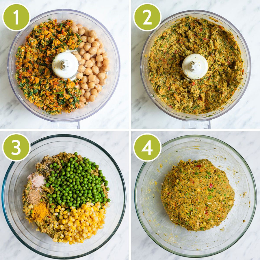 4 photo collage with steps to form veggie balls. The first shows the orange green pieces with chikpeas, the second show an orange green puree, the thirds shows corn and green on top of the puree, the fourth shows the veggie ball dough