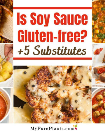 """Collage with a text in the middle sayong """"is soy sauce gluten-free?"""""""