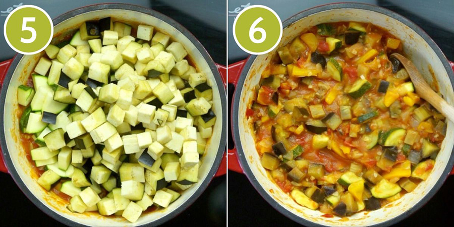 2 photo collage of a pot from above showing how to cook ratatouille. The first has chopped greenish zucchini and eggplant pieces, while the second shows the colourful stewy red, yellow, green, brown final meal.