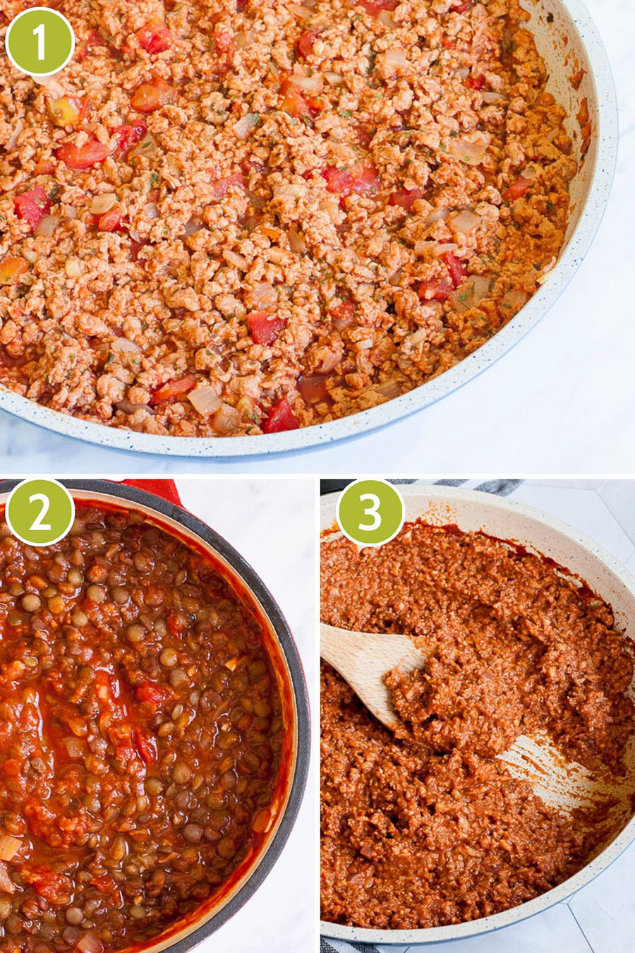 3 photo collage with 3 different mince with red sauce