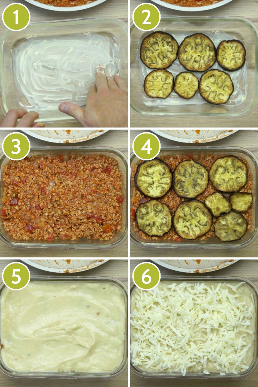 6 photo collage showing how to layer vegan moussaka, first butter, second eggplant slices, third mince, fourth eggplant slices, fifth white sauce, sixth shredded cheese
