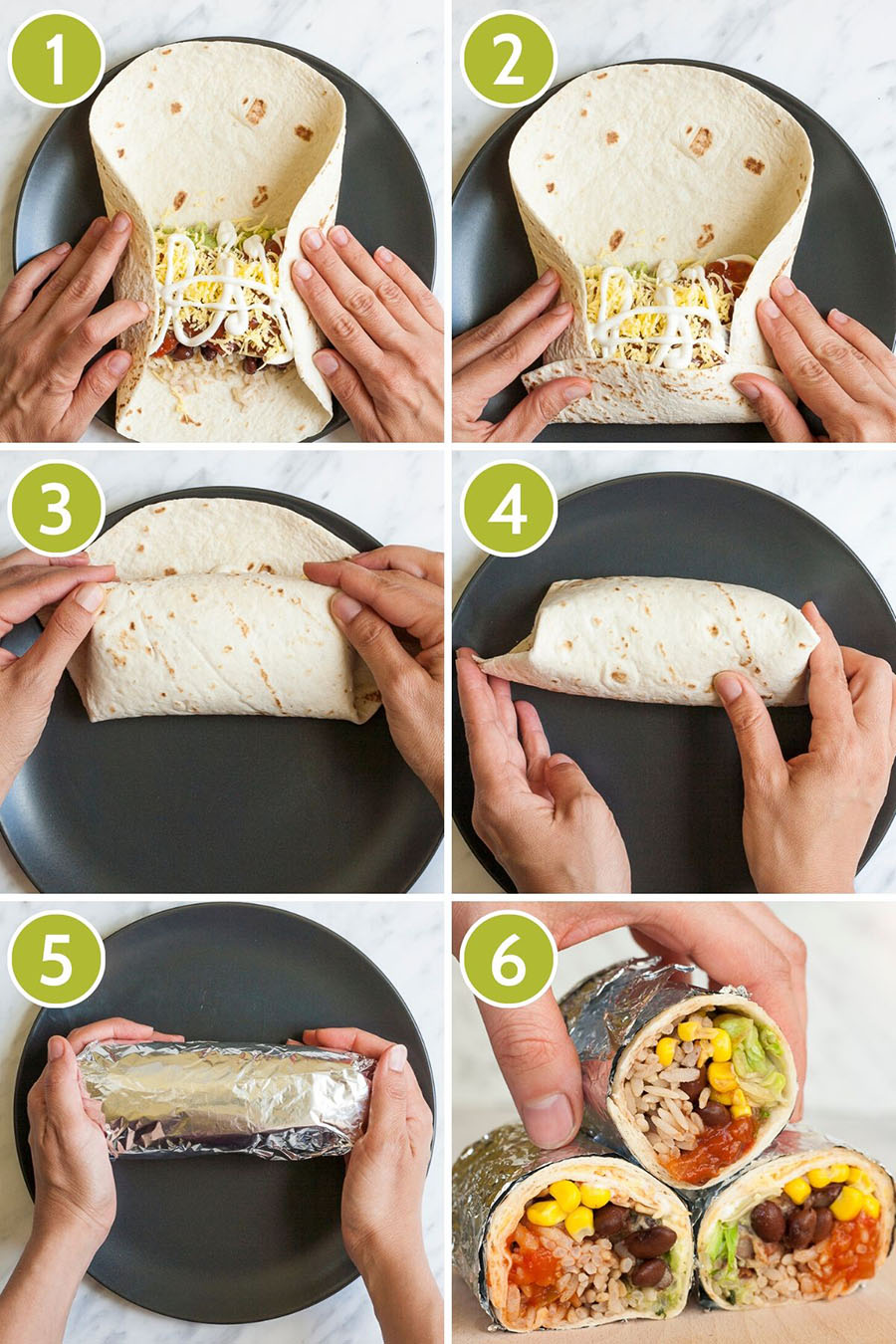 6 photo collage on how to roll a veggie burrito