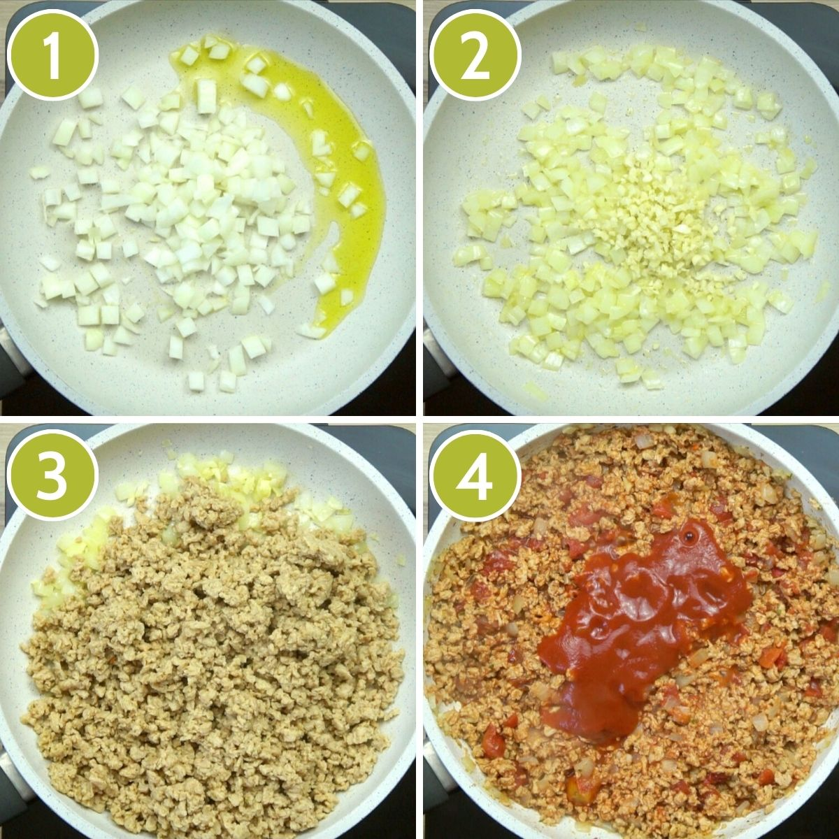 4 photo collage on how to make vegan mince for moussaka showing a frying pan with first onion, then garlic, then tvp, finally the tomato sauce