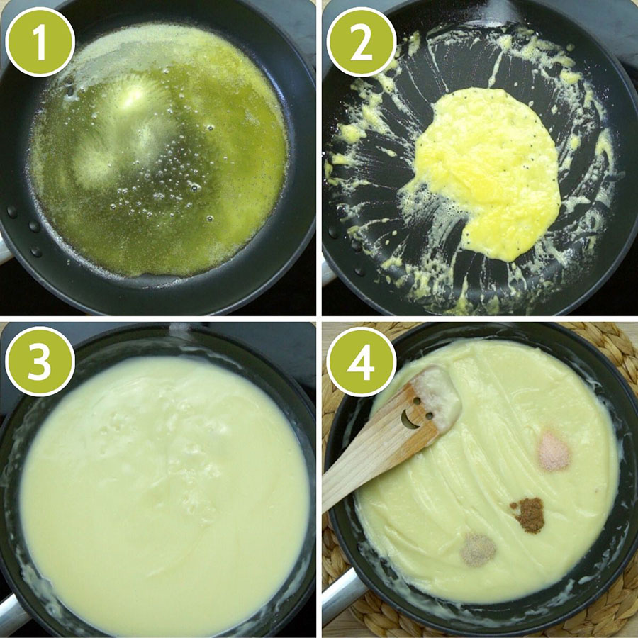4 photo collage of how to make vegan bechamel showing a frying pan with first melted butter, then butter and flour, then white sauce, fourth seasoning