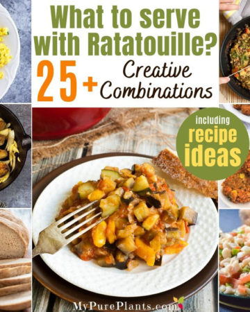 Photo collage of different dishes with a text in the middle saying What to serve with Ratatouille 25+ creative combinations