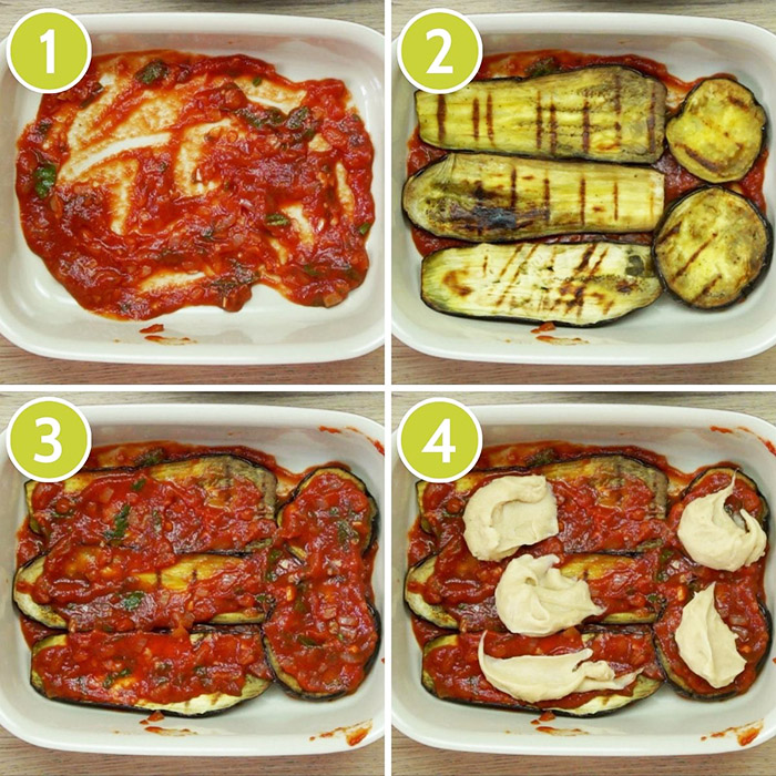 4 photo collage on how to layer vegan eggplant parmesan showing the casserole first with red sauce, then topped with brown eggplant slices, then red sauce again, finally white sauce