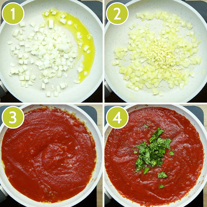 4 photo collage on how to make pomodoro sauce in a frying pan. First cooking chopped onion, then added chopped garlic, then red sauce, finally chopped green herbs
