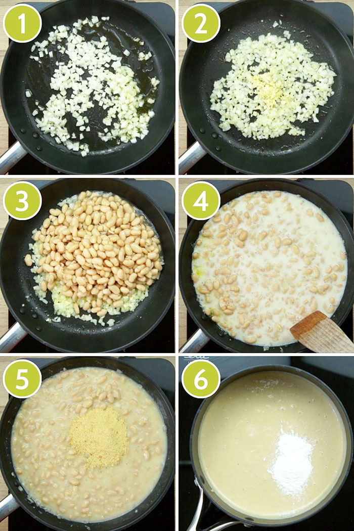 6 photo collage on how to make melted cheese sauce using bean. Showing a frying pan first with cooking chopped onion, then with chopped garlic added, then beans on top, then white liquid was added, on the fifth small yellow flakes were sprinkled on top. Finally the finished white paste-like sauce.
